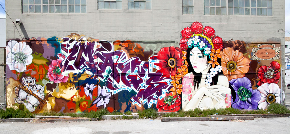 Alynn and Lady Mags Flora n Fauna street art mural on Duboce in San Francisco, Ca
