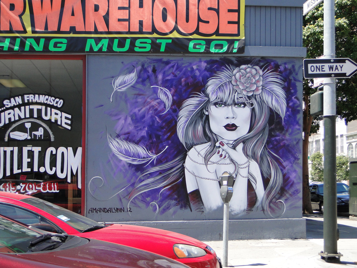 Alynn street art mural in Soma on 9th at Mission St in San Francisco, Ca