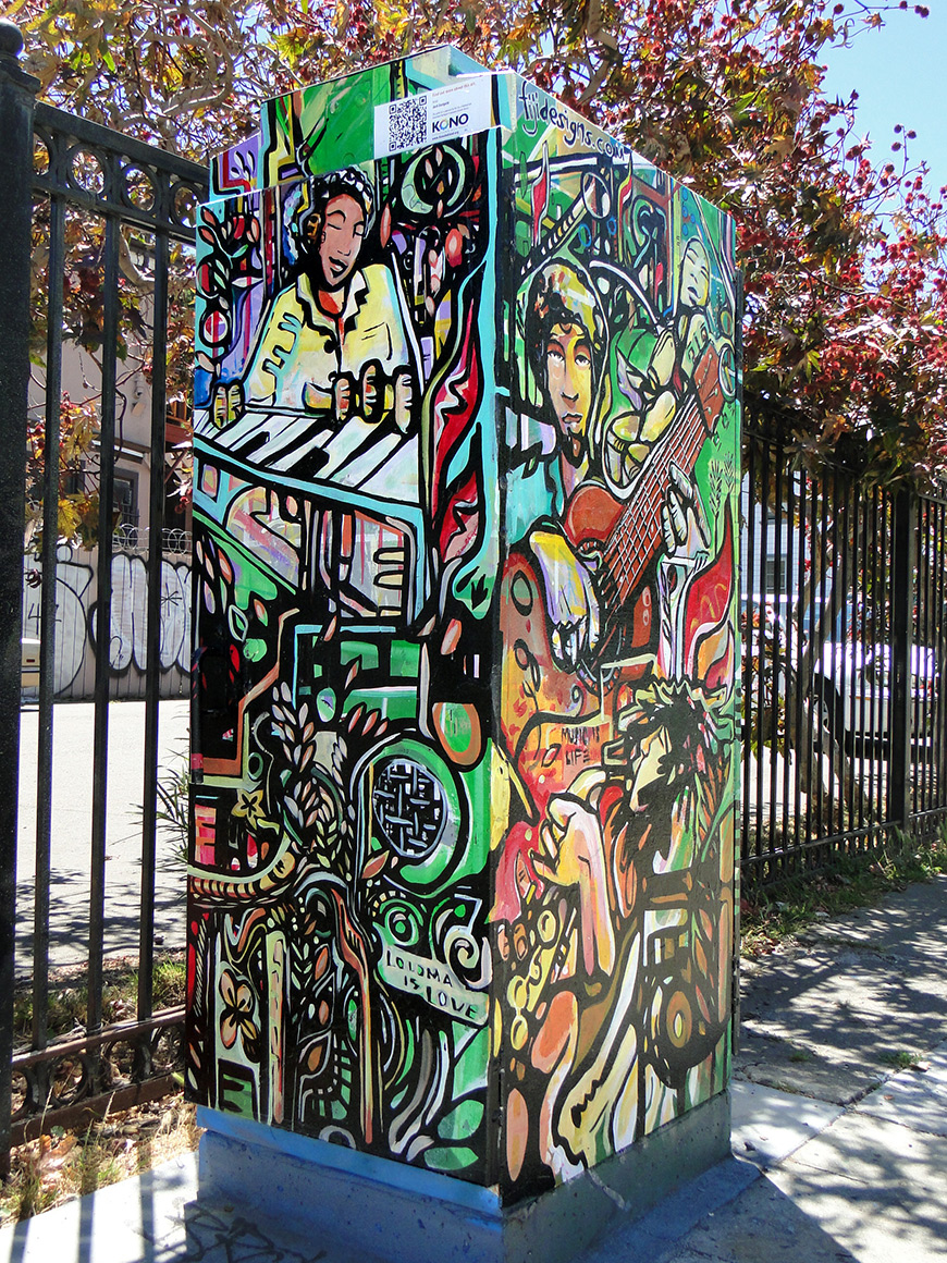 Street art utility boxes in Kono district  of Oakland, Ca