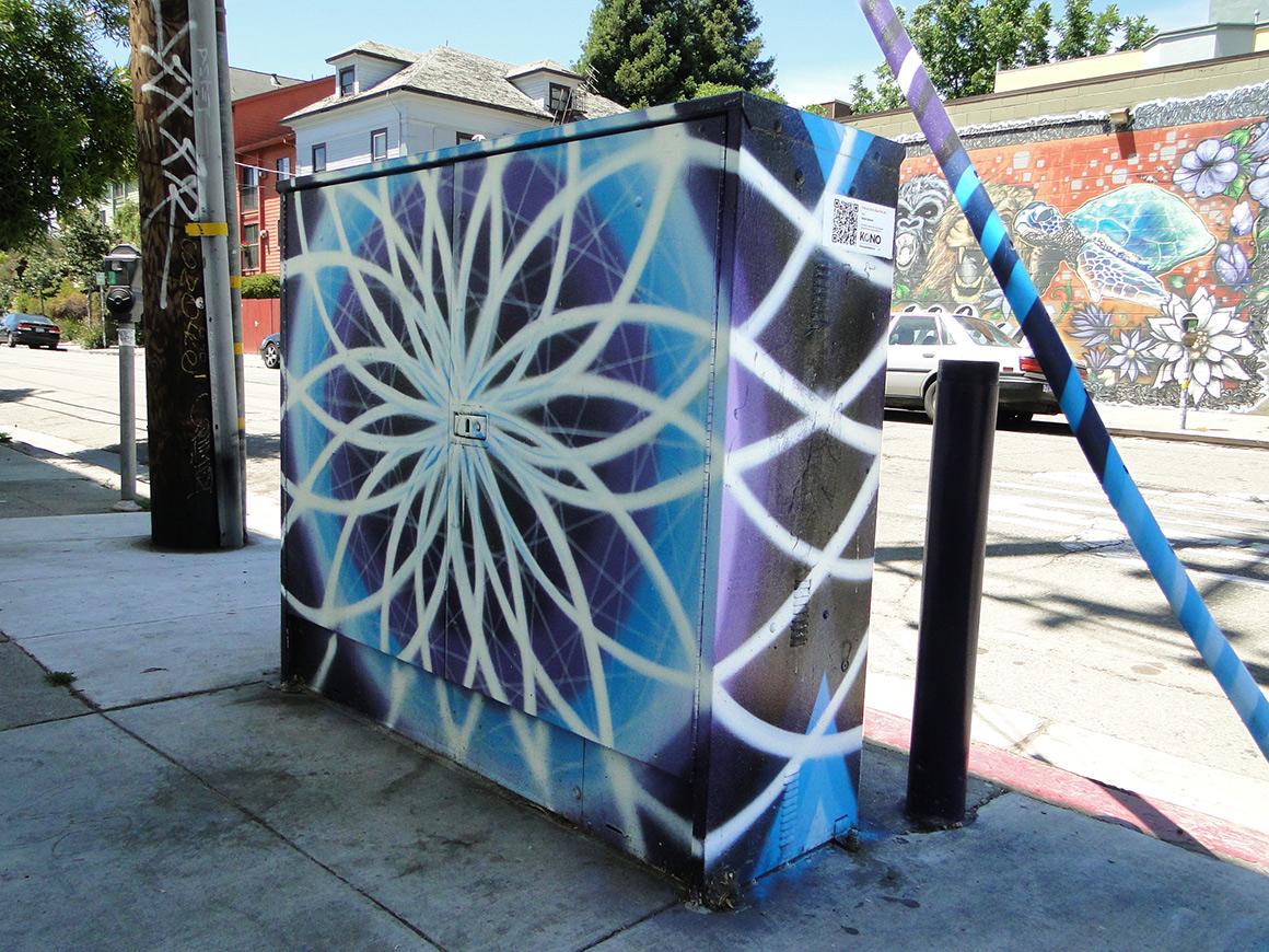 Stevan Guiterrez Street art utility boxes in Kono district  of Oakland, Ca
