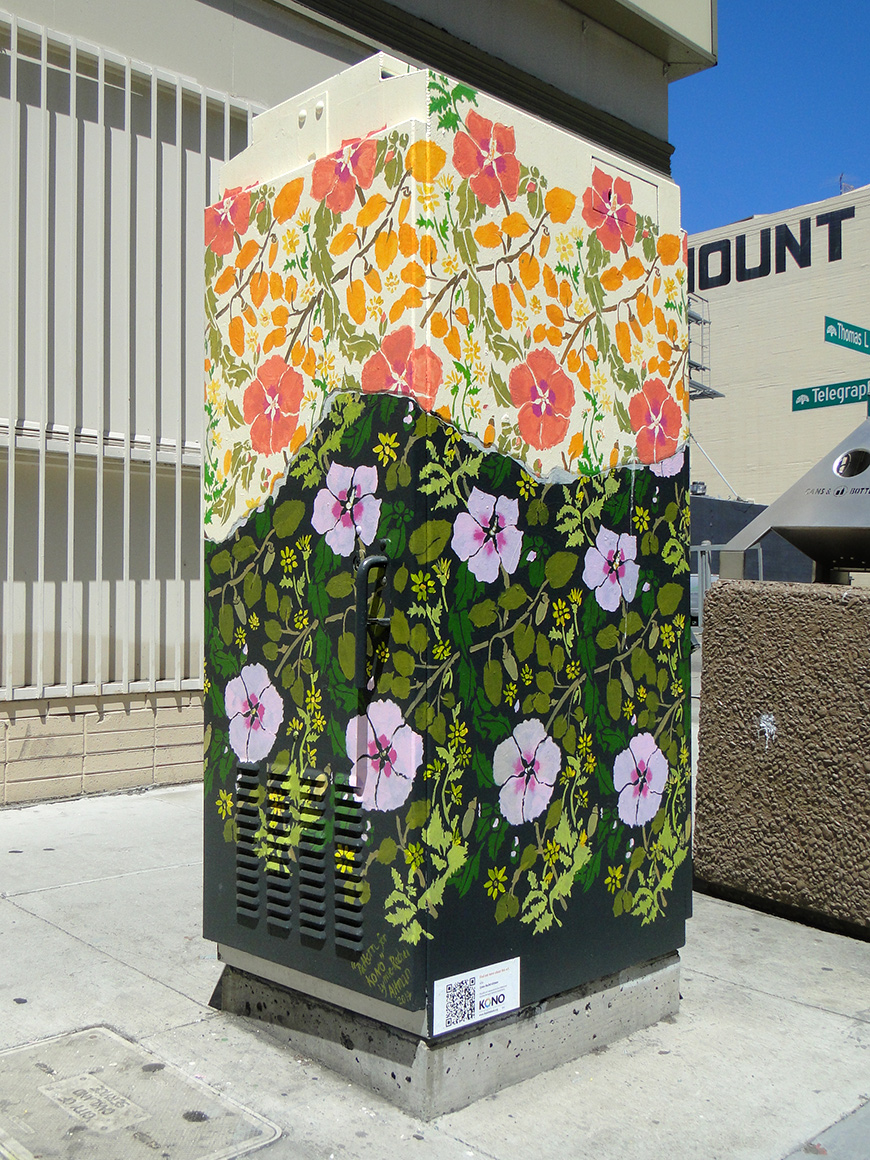 Lynne- Rachel Altman Street art utility boxes in Kono district  of Oakland, Ca