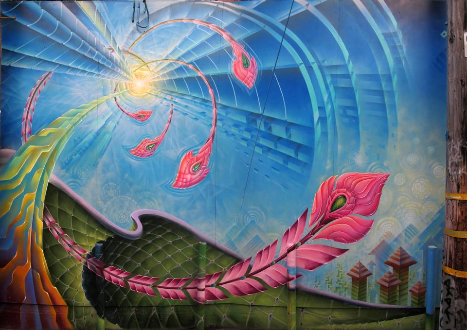 Xavi Panneton mural on Lilac Alley in San Francisco, Ca
