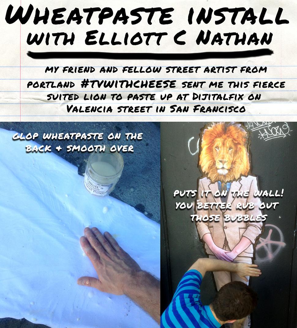 Elliot C Nathan making wheat paste in San Francisco