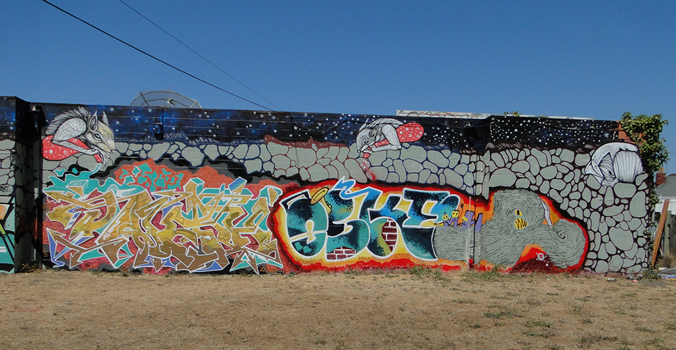 Street art at the Pallett Space in West Oakland on San Pablo