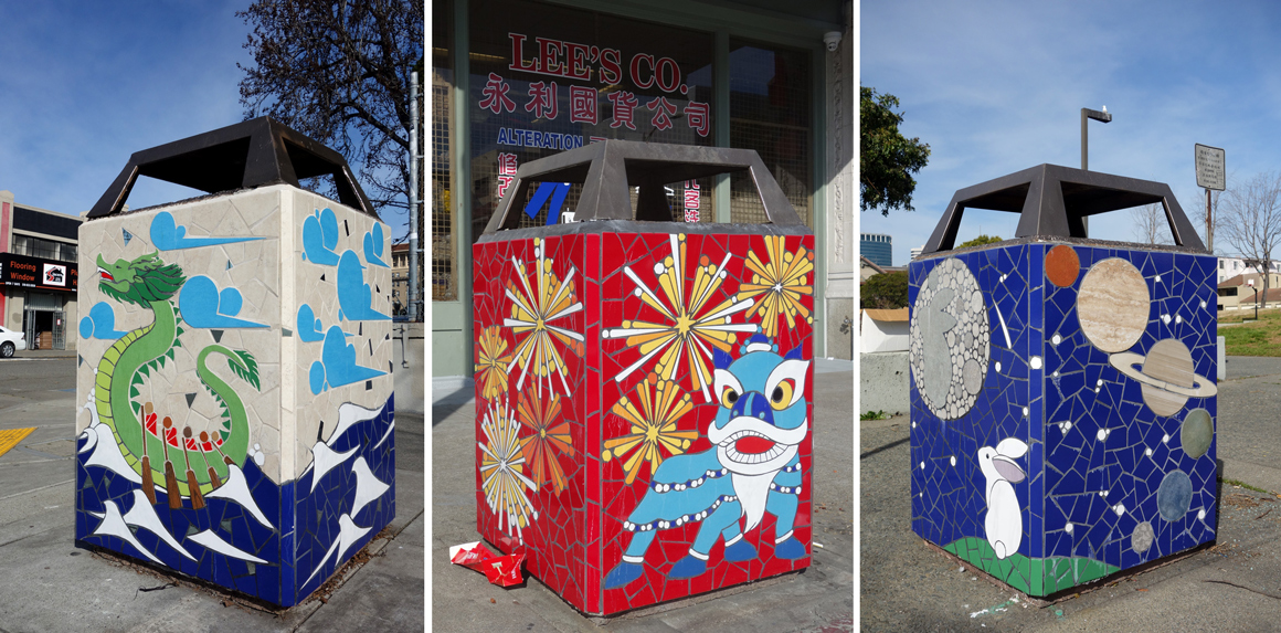 New World Mosaic Trash Boxes in Oakland Chinatown in San Francisco Bay Area