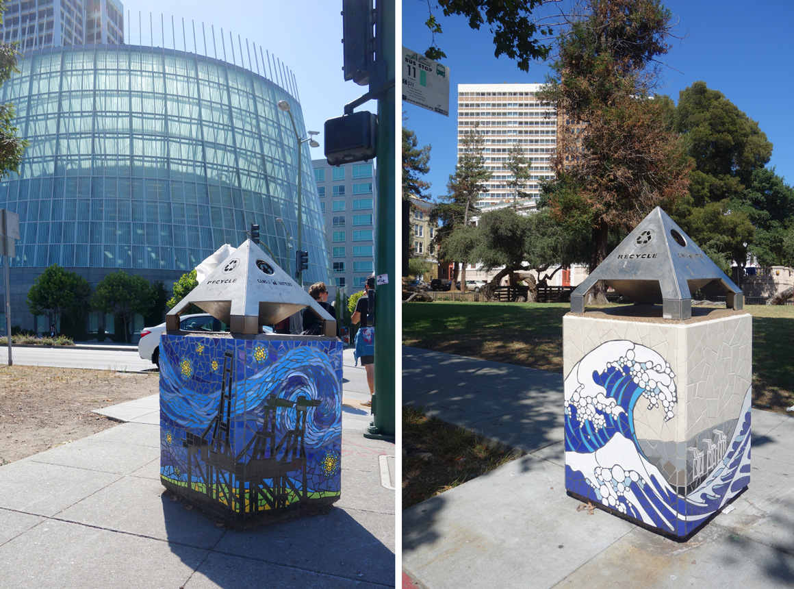 New World Mosaic Trash Boxes in Oakland Ca in San Francisco Bay Area