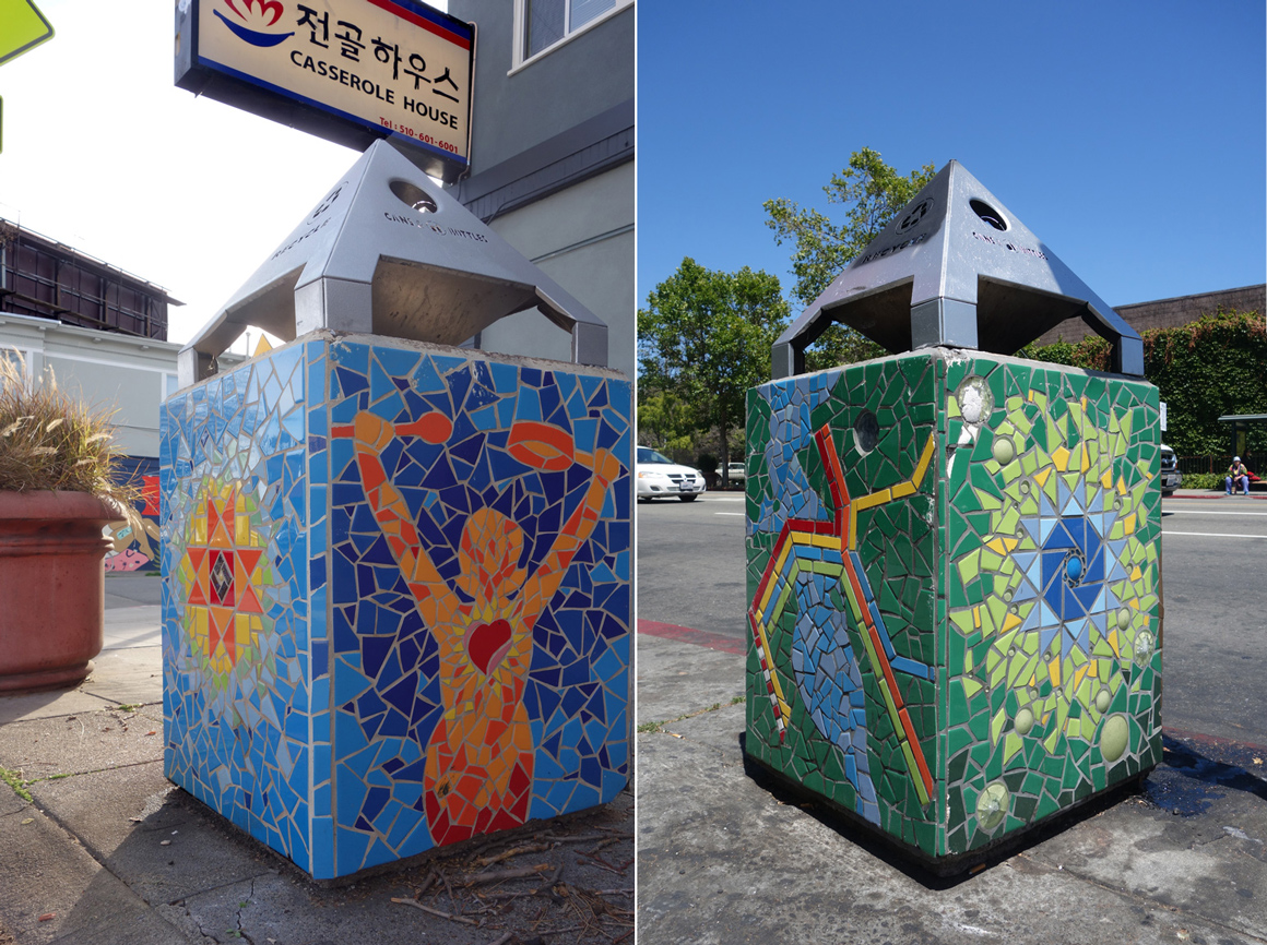 New World Mosaic Trash Boxes in Temescal District of Oakland Ca in San Francisco Bay Area
