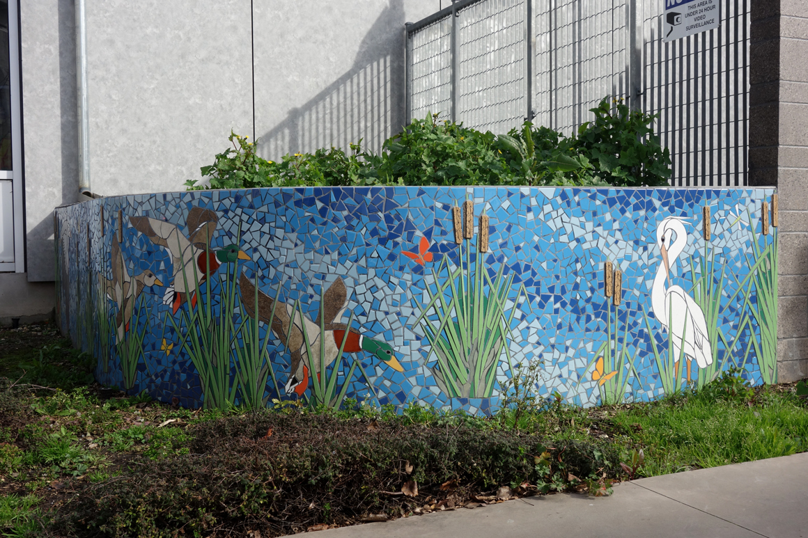 New World Mosaics at a school in  Oakland, Ca by Lake Merritt