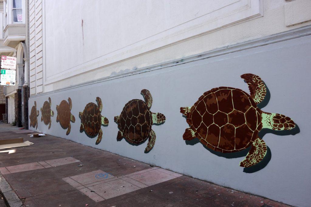 Fnnch street art stencils in San Francisco Mission Distirct