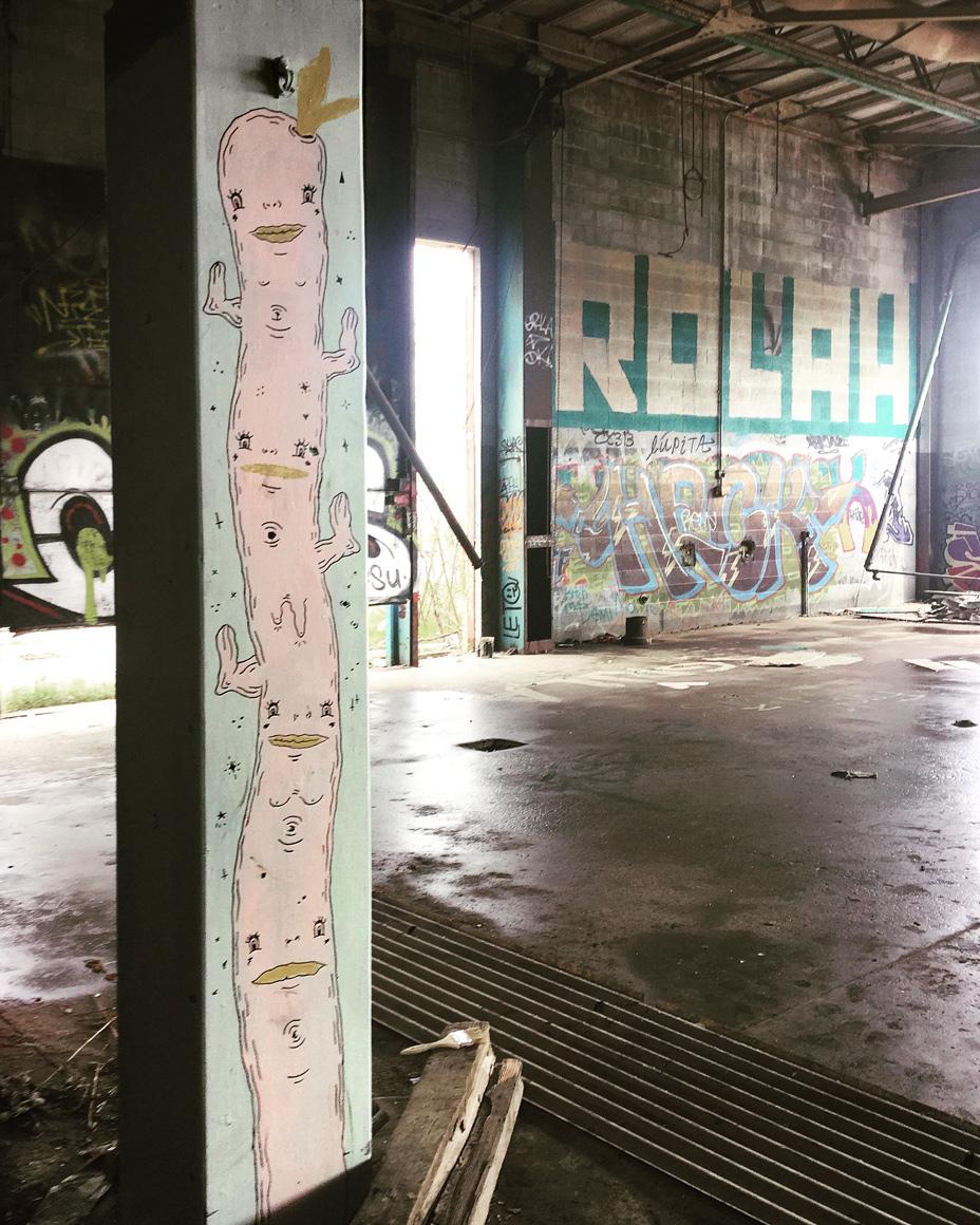 Oakland based Filthcakes Danielle O'Malley street art in Detroit, MI