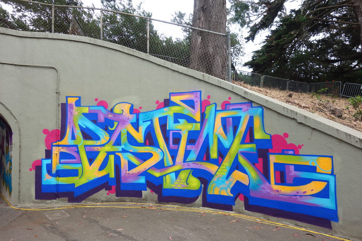 Pastime Lords graffiti piece in Tunnel at Outside Lands 2016 San Francisco