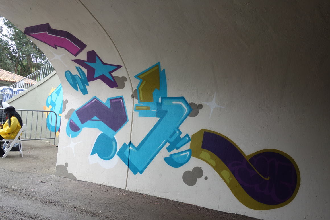 Curve, Diet HTK graffiti at Polo Fields Tunnel at Outside Lands 2016 San Francisco