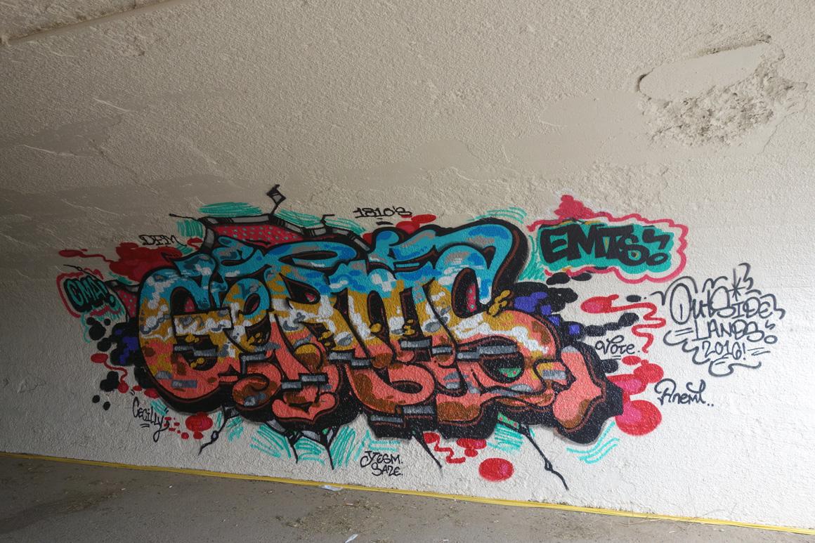 Germs EMT graffiti at Outside Lands Concert in Golden Gate Park in San Francisco
