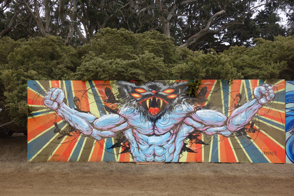 Skinner street art murals at Outside lands Festival in San Francisco Golden Gate Park