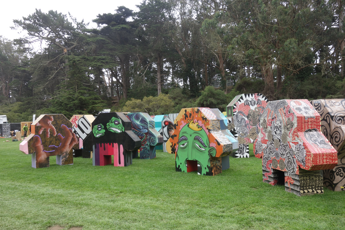 Street art people at Outside Lands Concert in Golden Gate Park in San Francisco