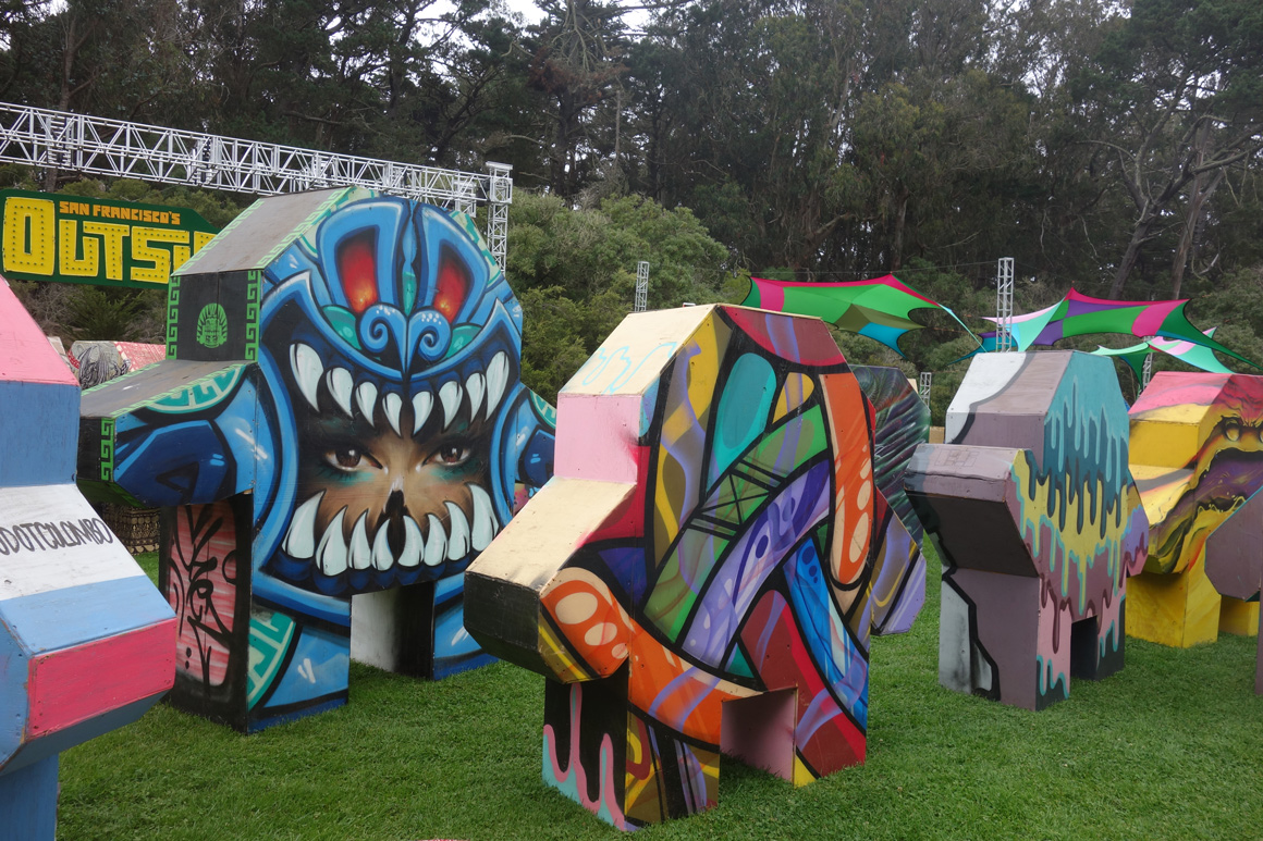 Street art people by Apexer and Urban Aztec at Outside Lands Concert in Golden Gate Park in San Francisco