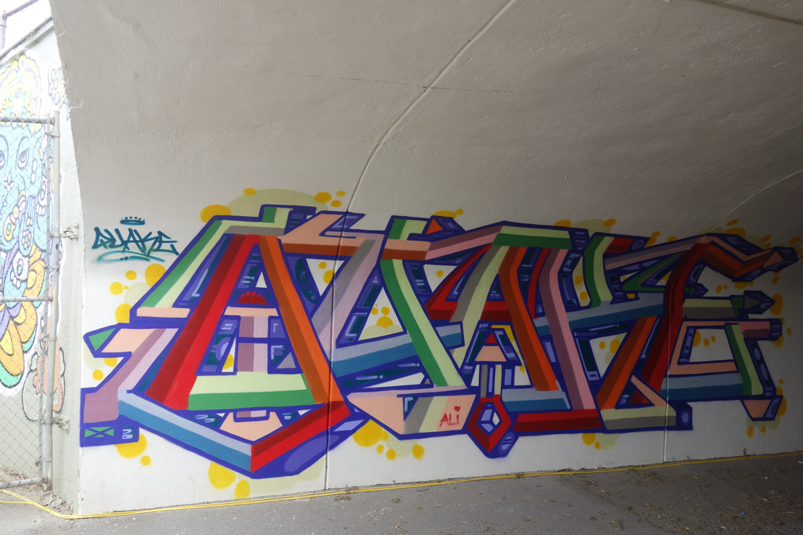 Quake Lords graffiti piece in Polo Field Tunnel at  Outside Lands 2016 San Francisco