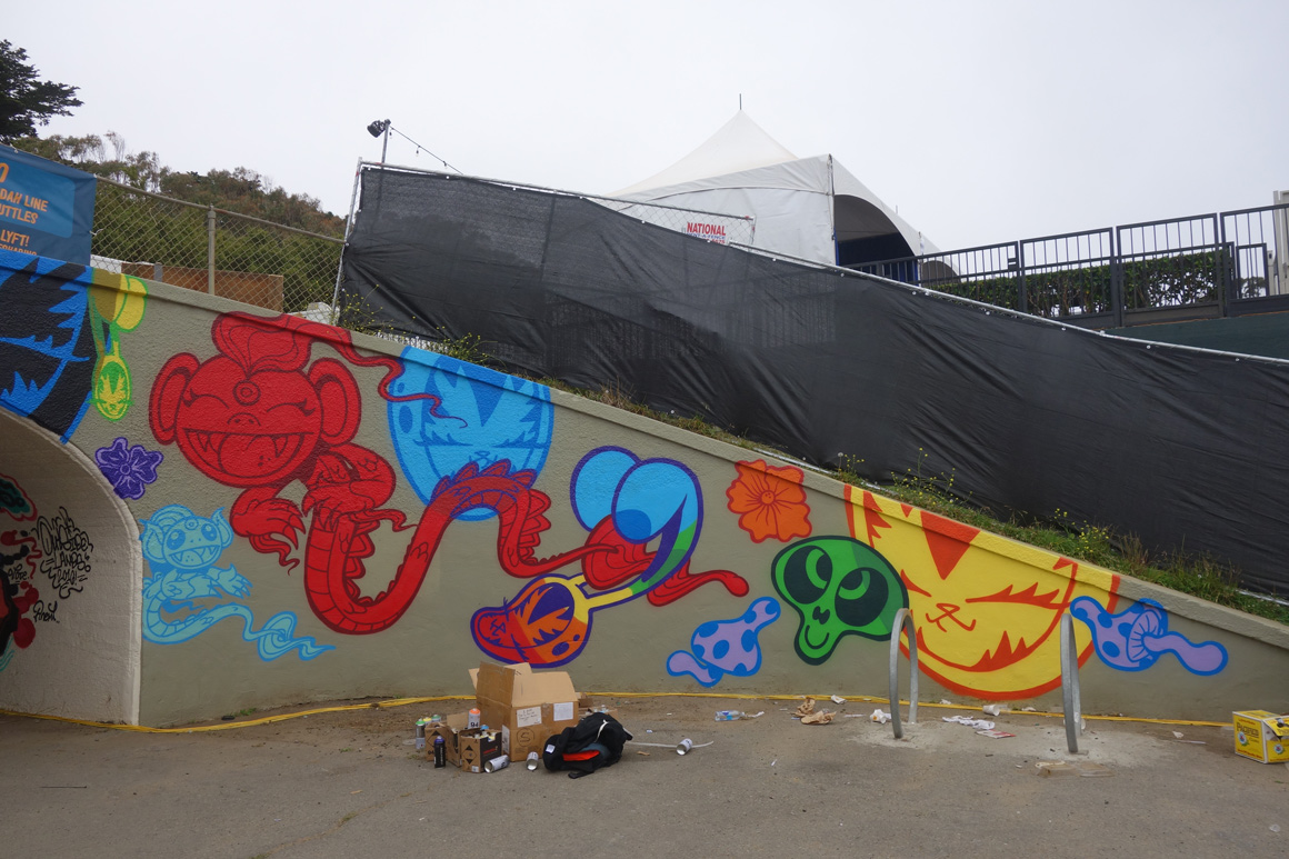 Persue street art art Outside Lands Concert in Golden gate Park in San Francisco