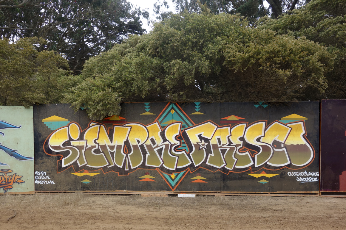 Siempres Fresco street art mural by Curve, Diet and Pastime at Outside Lands Festival in San Francisco Golden Gate Park
