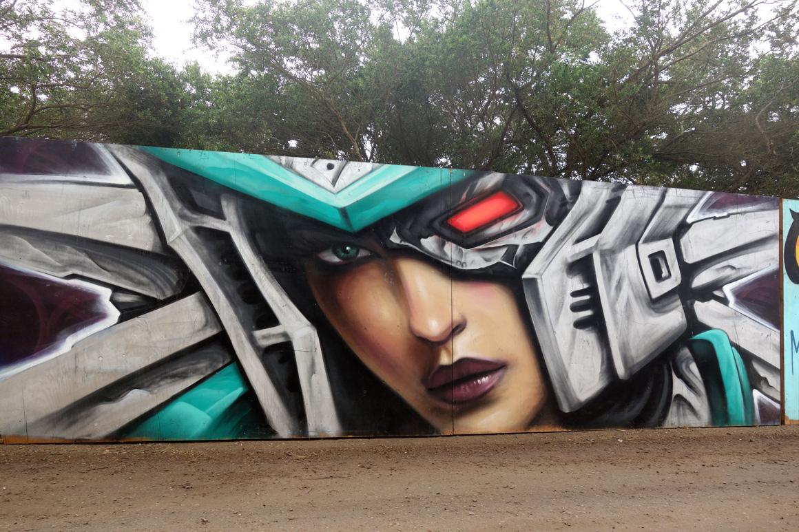Unknown artist mural at Outside Lands Festival in San Francisco Golden Gate Park