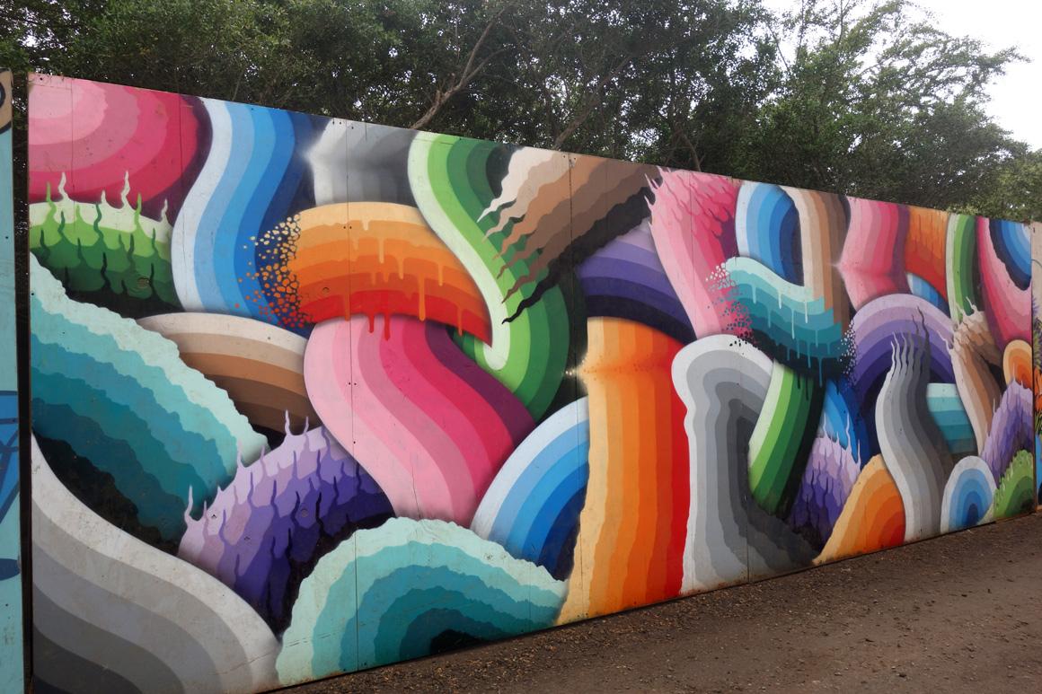 Ricky Watts street art mural at Outside lands Festival in San Francisco Golden Gate Park