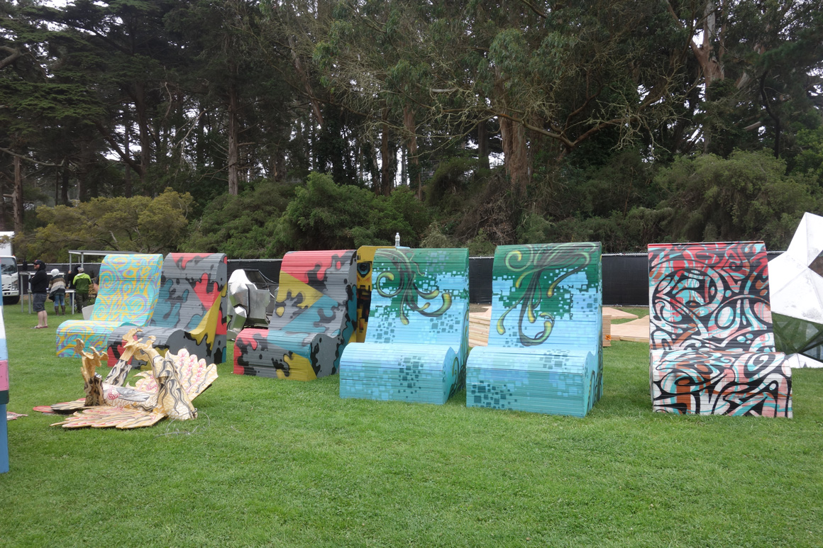 Street art chairs at Outside Lands Concert in Golden Gate Park in San Francisco