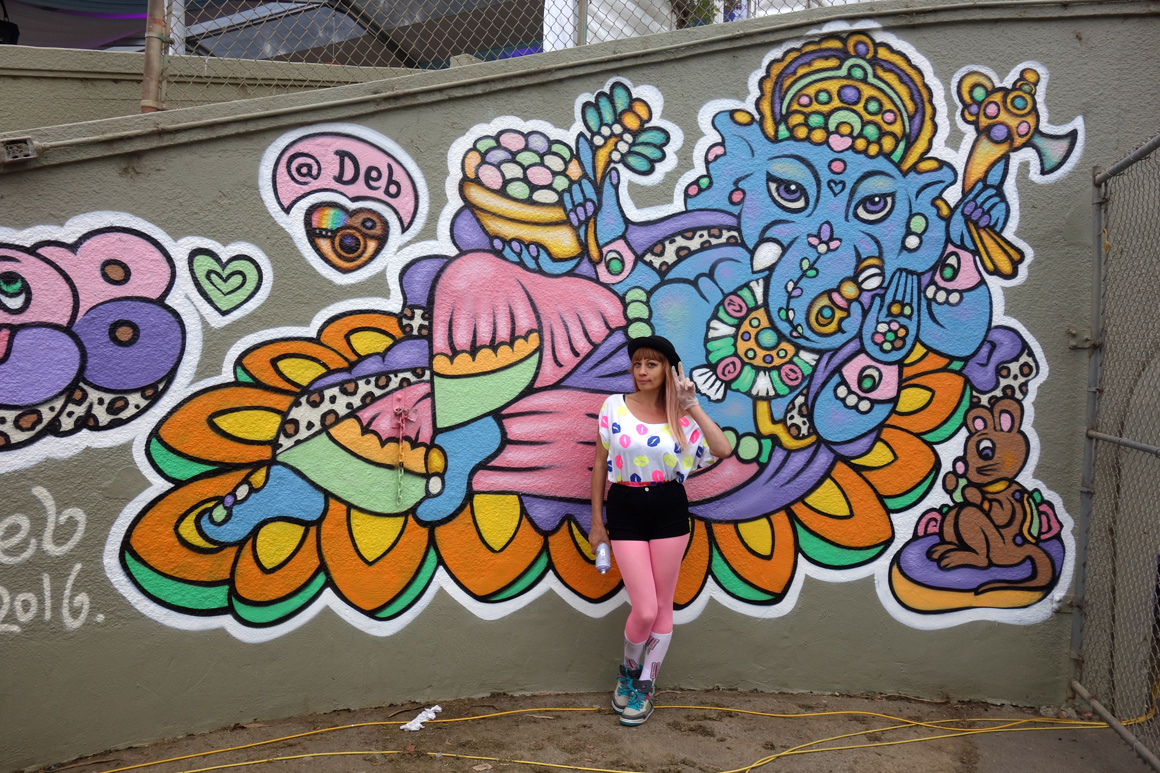 Deb street art ganish at the polo fields tunnel at outside lands 2016 san francisco