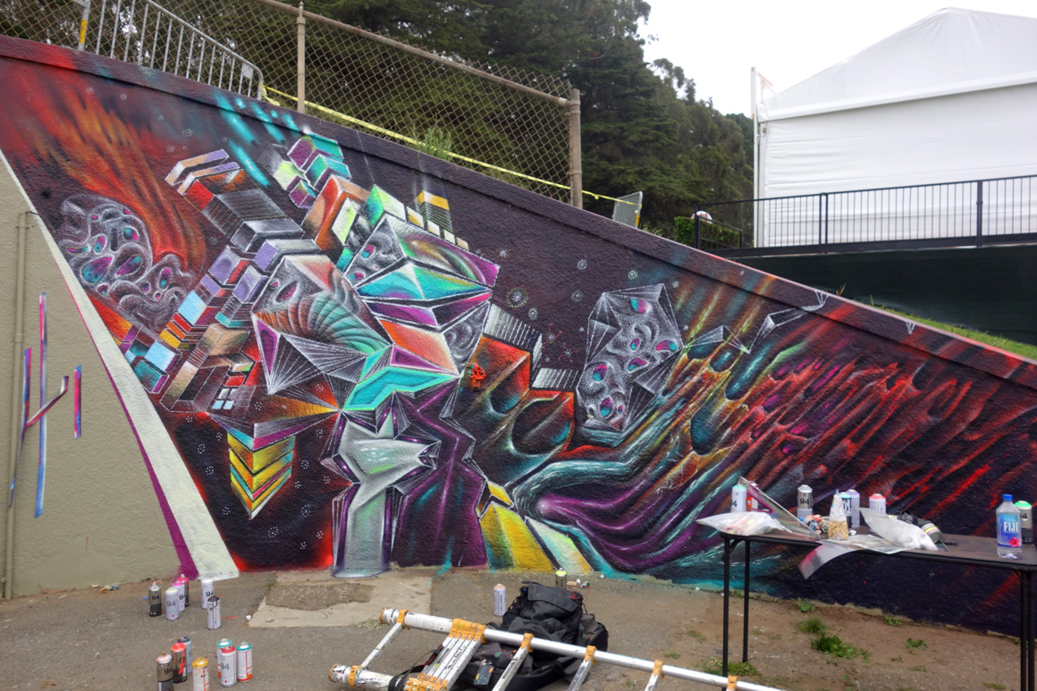 Max Ehrman or Eon75 street art mural at the Polo Fields Tunnel at Outside Lands 2016 San Francisco