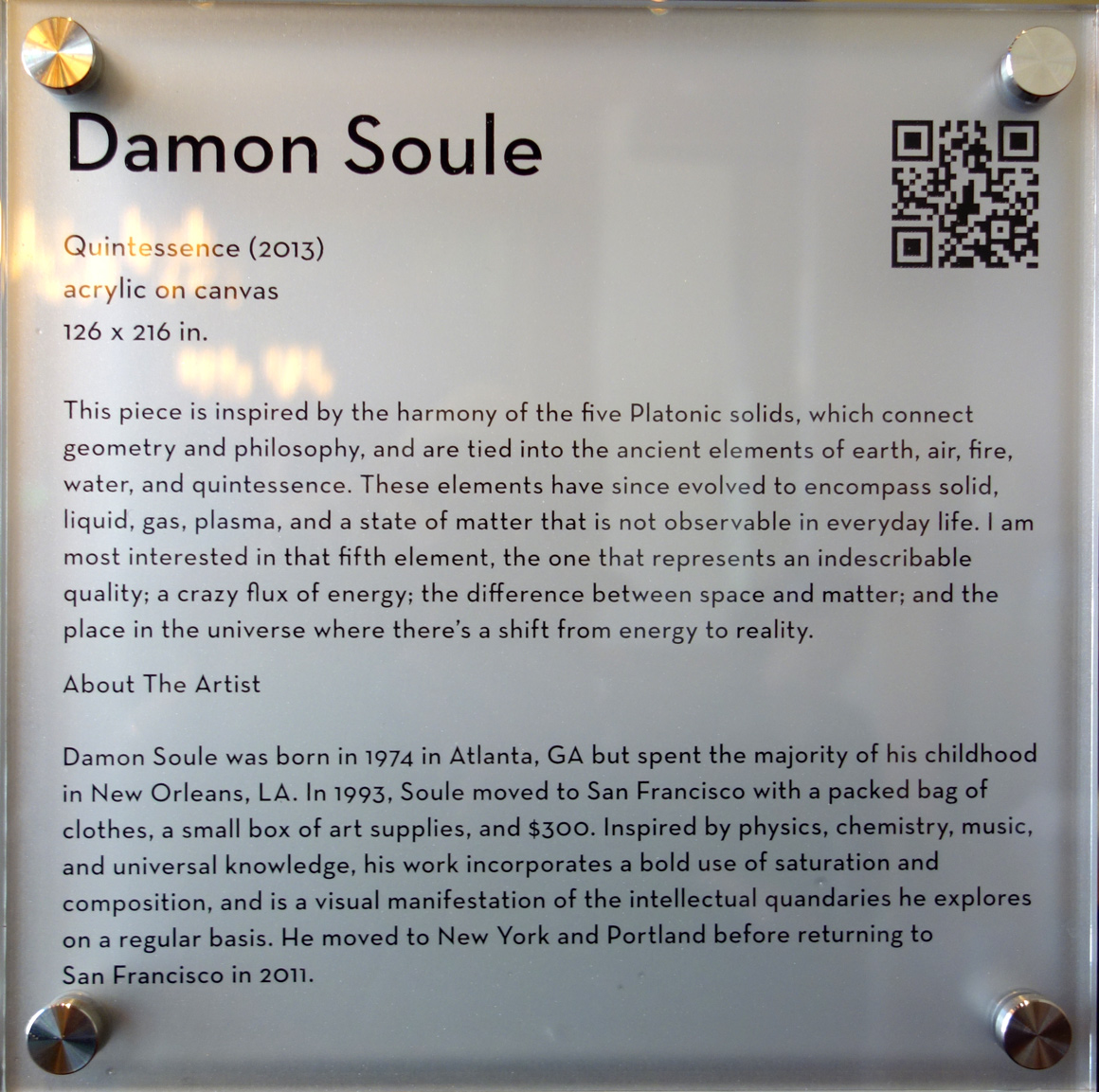 Damon Soule Bio at San Francisco artist at Grand Hyatt Hotel