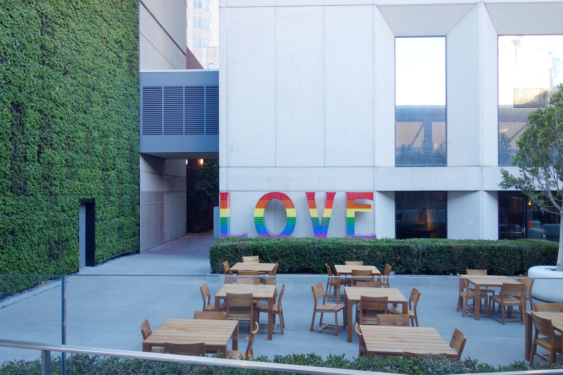 Love sculpture by Laura Kimpton in the courtyard at the Grand Hyatt Hotel in San Francisco