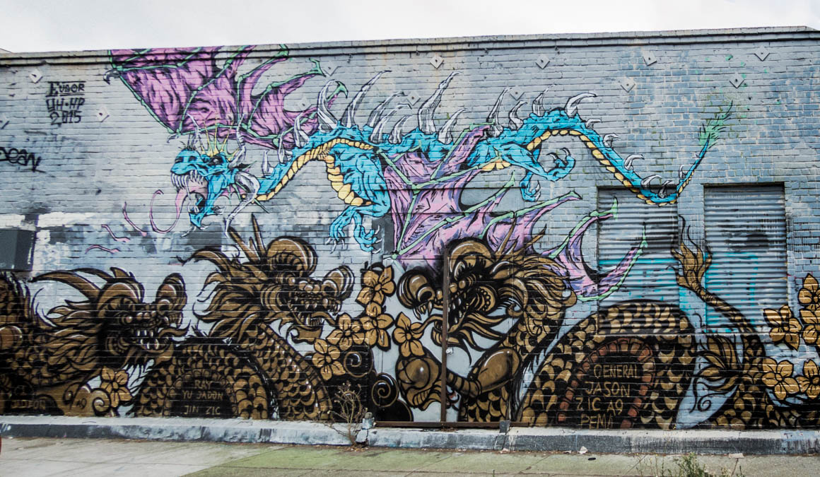 Eugor blue dragon for the Dragon School in Oakland Chinatown