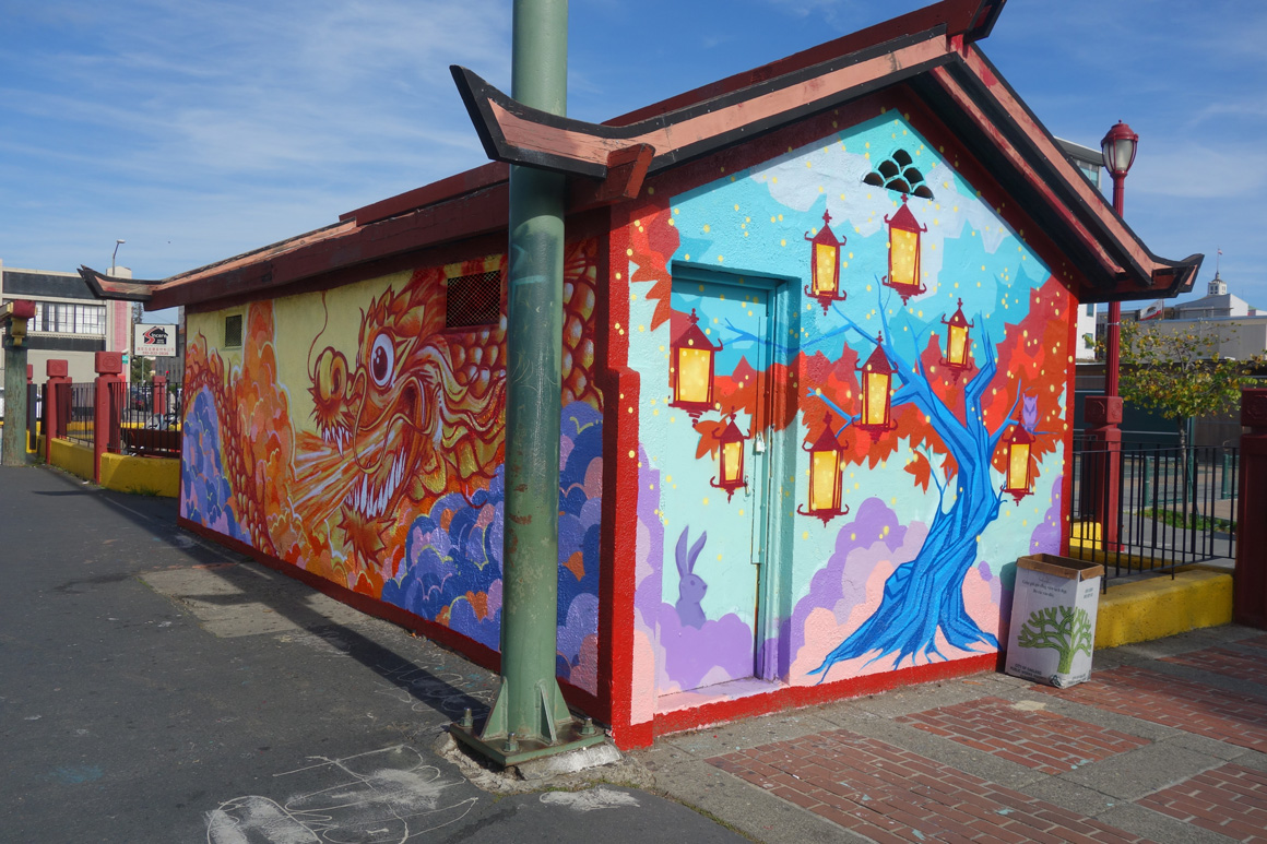 Omael and e47art updated of Dragon School street art mural originally created by London School in Oakland Chinatown