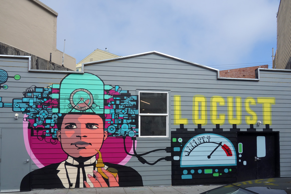 Mural outside The Laundry SF on Capp St in San Francisco Mission District