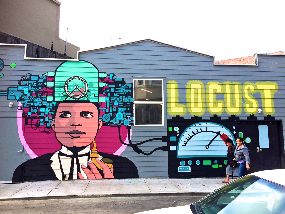 Locust mural outside The Laundry SF on Capp St in San Francisco Mission District