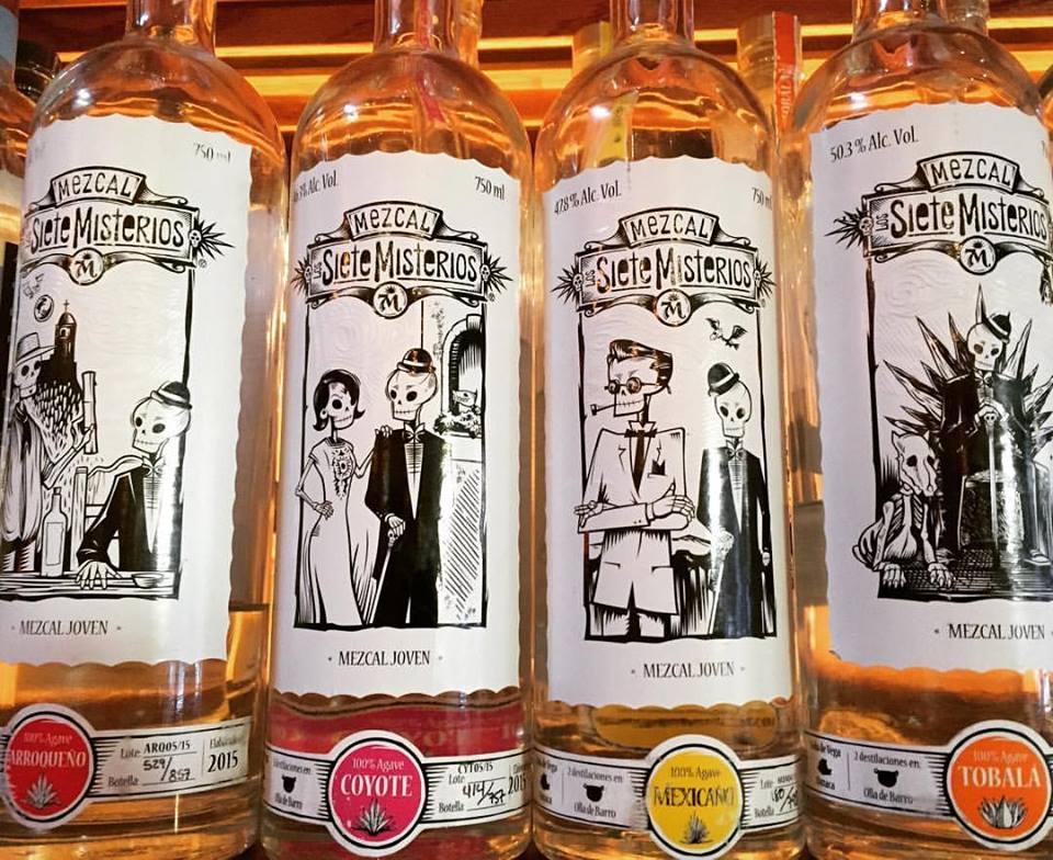 Art labels on Mezcal bottles