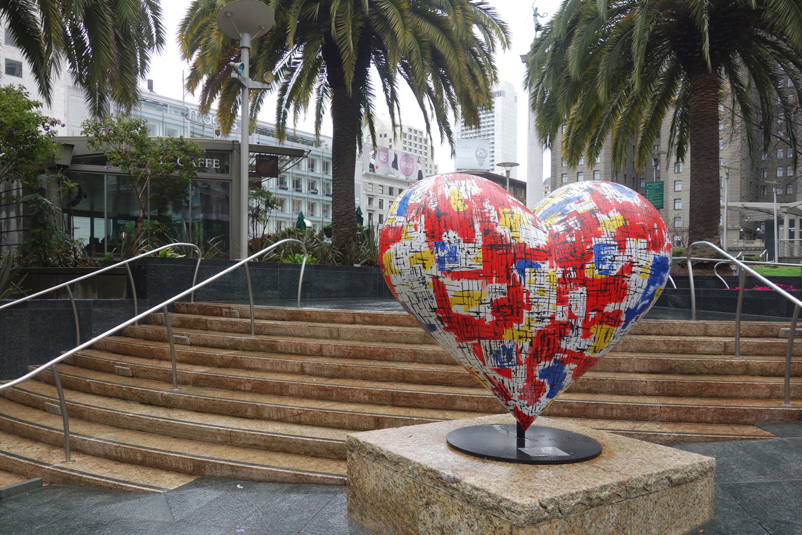 Hearts of San Francisco by Anthony Hall on Union Square in San Francisco