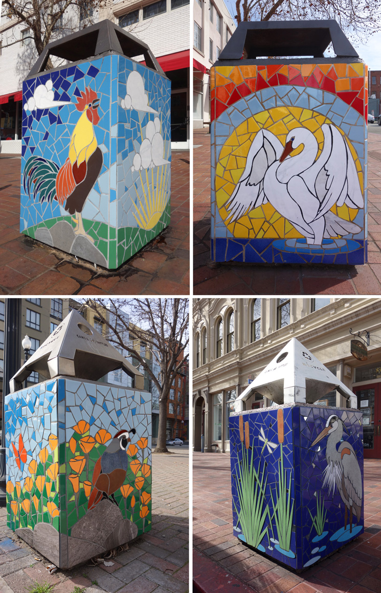 New World Mosaics trash boxes in Old Town Oakland