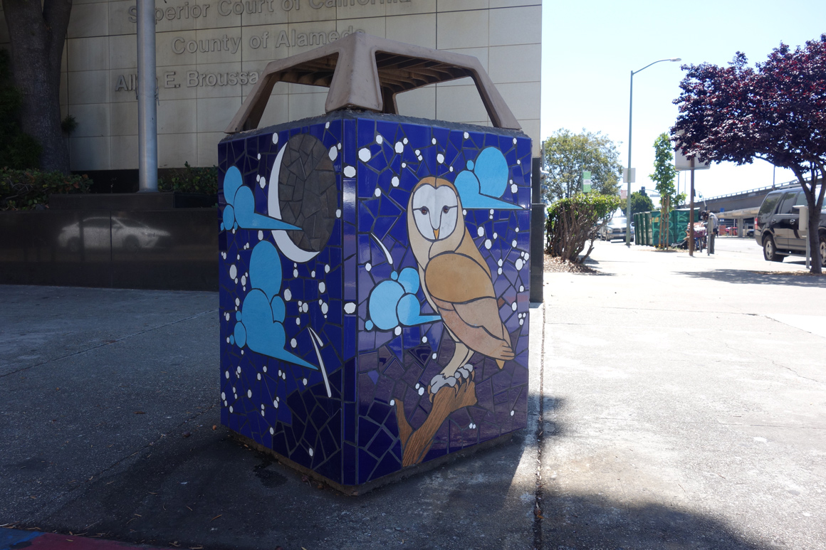New World Mosaics trash boxes in Oakland on 6th at Washington in Old Town