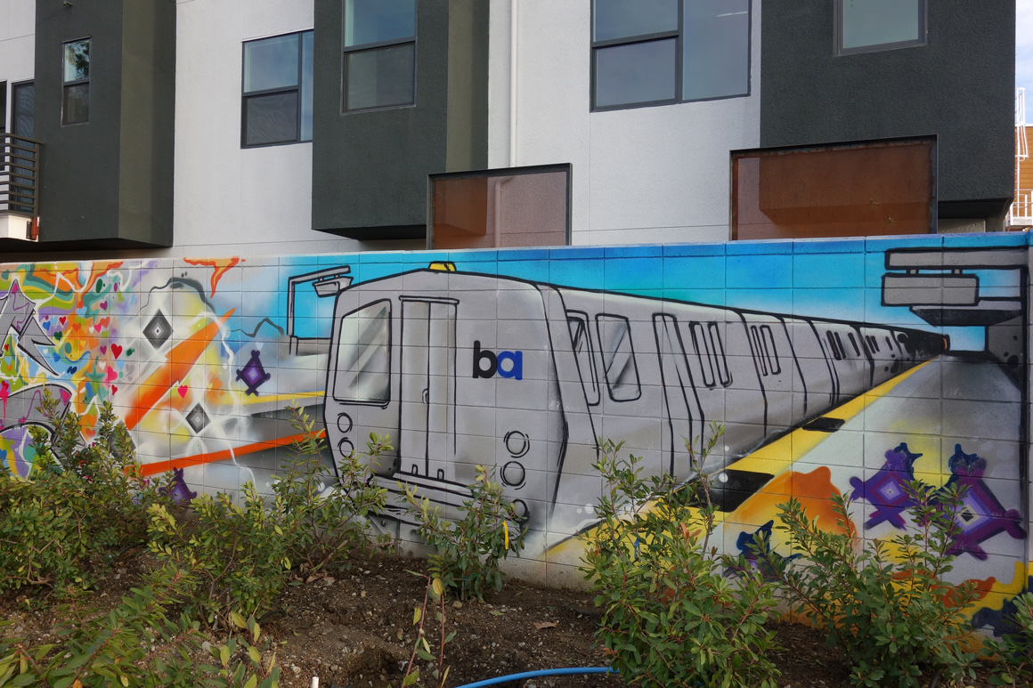 Bart Car - Culture and History of West Oakland street art mural by Ryan Montoya in West Oakland, CA