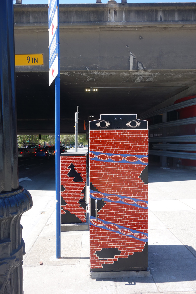 Cannon Dill Street art Utily boxes in downtown Oakland, CA