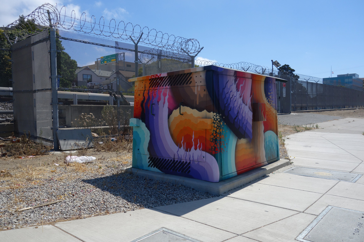 Ricky Watts Street art Utily boxes in downtown Oakland, CA