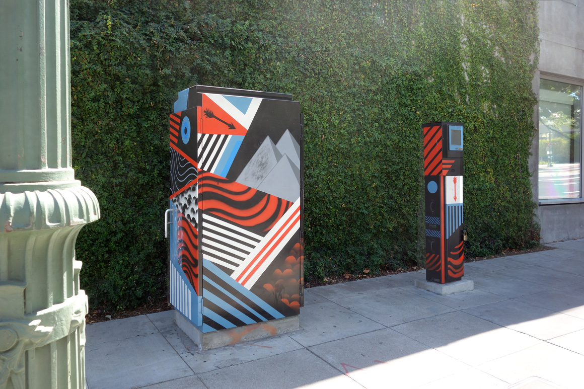 Santos Shelton Street art Utily boxes in downtown Oakland, CA