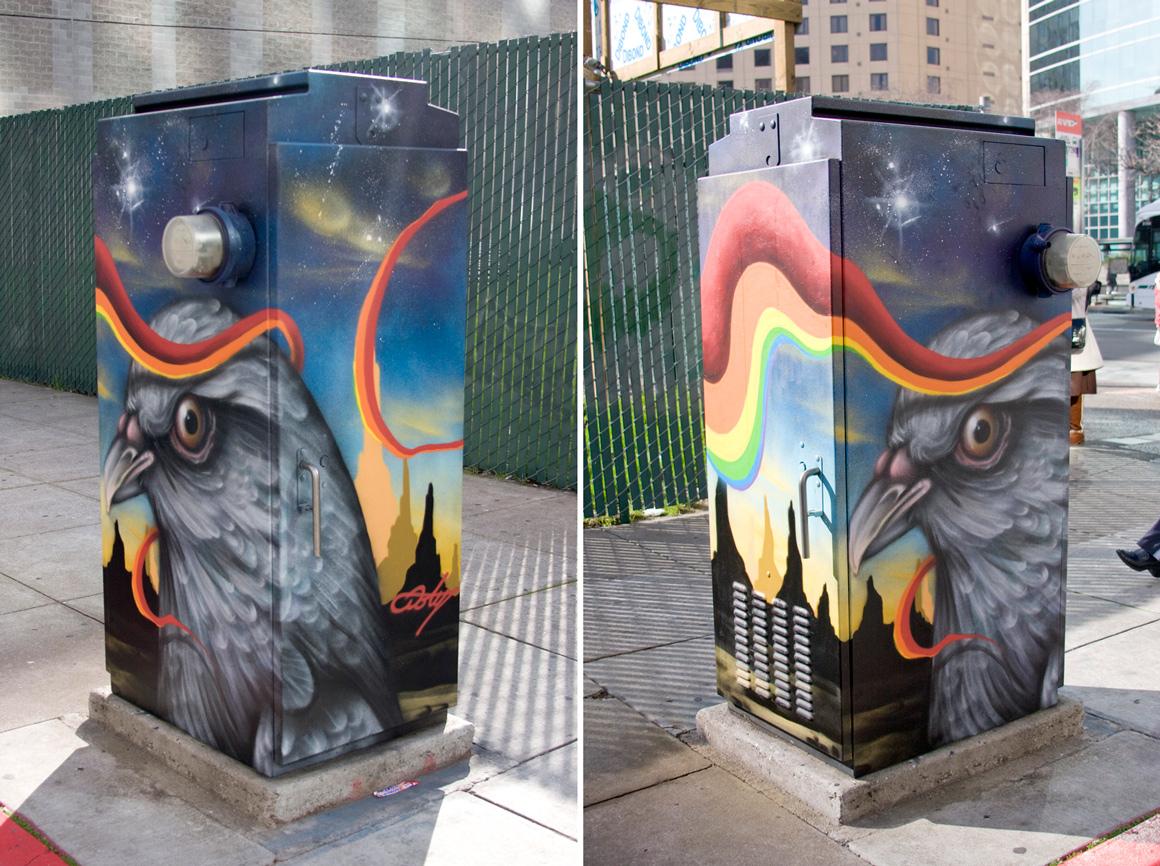 Ernest Doty street art on Broadway in Downtown Oakland, CA
