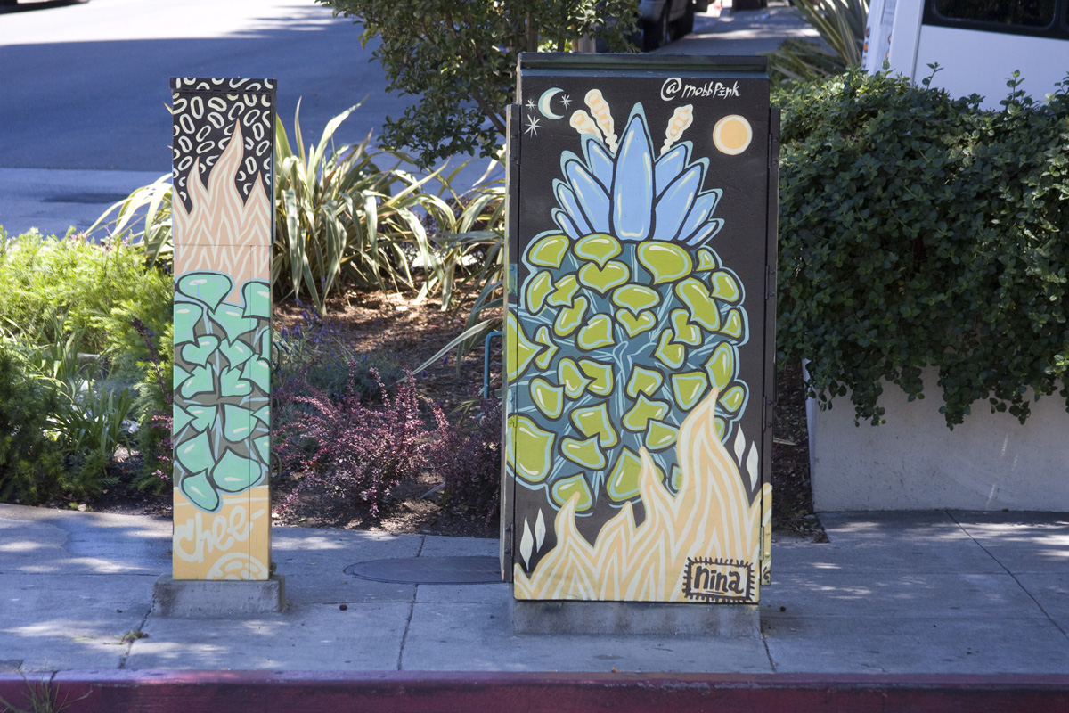 Nina Wright Street art Utility boxes in downtown Oakland, CA